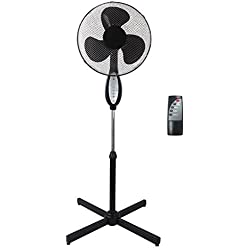 GR8Home Noir électrique télécommandé 40,6cm debout sur pied support réglable ventilateur oscillant rotatif Stay Cool 3vitesses avec télécommande