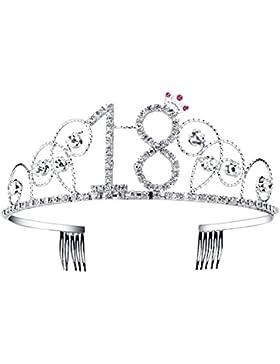 BABEYOND® Kristall Geburtstag Tiara Birthday Crown Prinzessin Kronen Haar-Zusätze Silber Diamante Glücklicher...