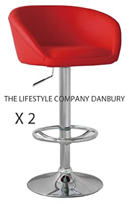 2 X Red Breakfast Bar Stools Faux Leather Barstools Kitchen Stool New Chairs