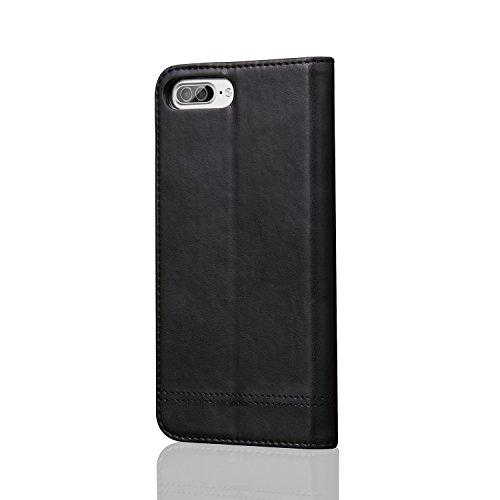 LIANGUK Custodia iPhone 7, Cover in PU Pelle, Supporto Stand, Porta Carte e Protettiva Flip Portafoglio Flip Wallet Case per iPhone 7,Nero Nero