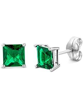 Miore Damen-Ohrstecker 9 Karat weißgold Edelstein  375 Quadratschliff Smaragd grün