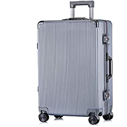 ABS Valise Cabine Bagage Main Trolley Hand Cabin Bagages Retro Dur Coque Sac De Voyage Léger Durable 4 Roues Spinner Light Gray-24 inches