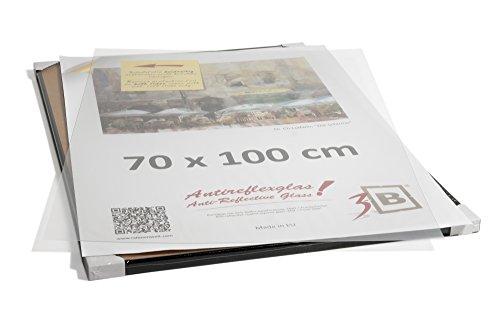 3-B Poster - Großer Bilderrahmen - mit LUMEX® A-PET Antireflex Polyesterplatte und Einzelverpackung - Schwarz - 70x100 cm (B1)