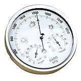 Hochwertig Barometer Temperatur Hygrometer Analog für Wohnzimmer Lagerraum Garten usw. Hohe Präzision und Haltbar - Silber Weiß