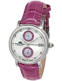 Yonger & Bresson  - Reloj automático para mujer, correa de cuero color rosa
