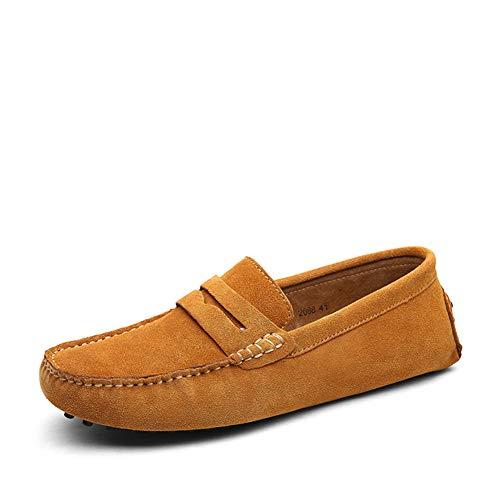 Jamron Herren Klassisch Ursprüngliches Wildleder Penny Halbschuhe Komfort Fahrende Schuhe Schlüpfen Niederung Mokassin Slippers Hausschuhe Bräunen 2088 EU44 -