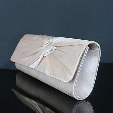 ZYT Damen Taschen Seide Unterarmtasche Strass Kette für Hochzeit Veranstaltung / Fest Normal Sport Formal Herbst Ganzjährig Schwarz Silber . apricot (Klassische Handtasche Bag Flap)