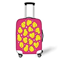 Travel Luggage Cover Suitcase Protector,Rubber Duck,Fun Baby Duckies Circle Artsy Pattern Kids Bath Toys Bubbles Animal Print,Pink and Yellow,for Travel,L