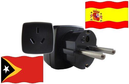 Adaptador de Viaje ESPAÑA a Timor Oriental ES - TL Travel Plug ESPAÑ-Viaje (Protección contacto, 2200Watt)