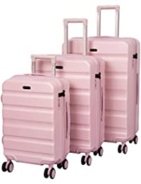ROMEING Venice Polycarbonate Hard-Sided Luggage Set of 3 Trolley Bags (Gold, Blue, Pink) (55, 65 & 75 cm)