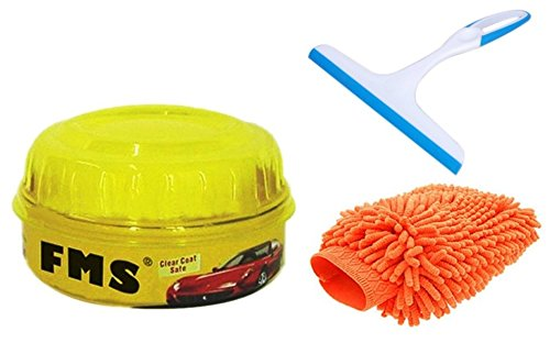 ManeKo Car Cleaning Combo for Maruti Suzuki A-Star All Models & Types - Double Sided Large Size Microfiber Hand Glove Duster for Cleaning & Washing Vehicles/Car, Bike, Houseware, FMS Carnauba Vehicle Wax Polish with High Gloss Shine & Glass Cleaning Silicone Wiper  available at amazon for Rs.395
