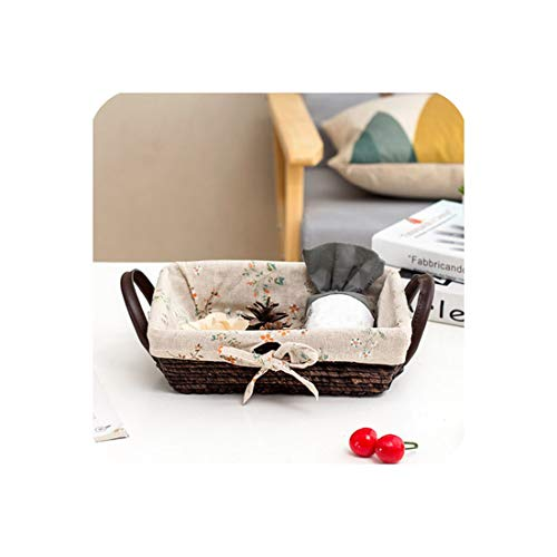 Noon-Sunshine Weave a basket Desktop-Aufbewahrungsbox Rattankorb Schlüsselkorb Snacks Süßigkeiten Teller Strohflechterei Korb Rattan Finishing-Box Stoff, 6 -