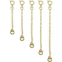 5 Piezas Extensor de Collar Set de Cadena de Extensión de Pulsera para Manualidades de Collar y Pulsera Fabricación de Bisutería (Dorado)