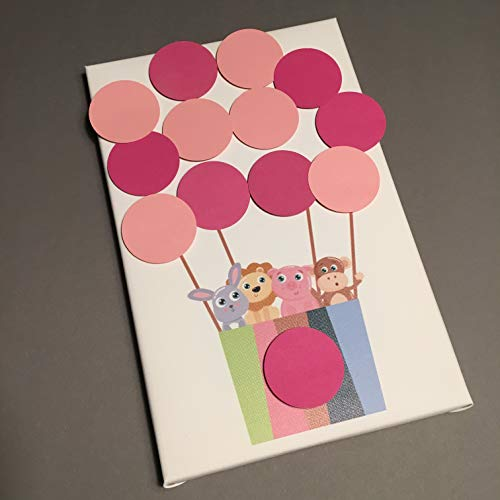 Pastelltiere Ballon Leinwand ideales Geschenk, Gästebuch, Erinnerung, Deko, Idee, Andenken zur Geburt, Taufe, Babyparty, Baby Shower in Rosa für Mädchen