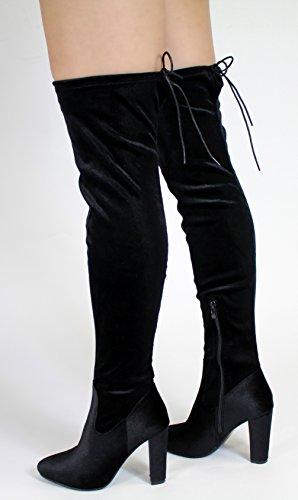 Generic - stivali sopra al ginocchio donna Black Velvet