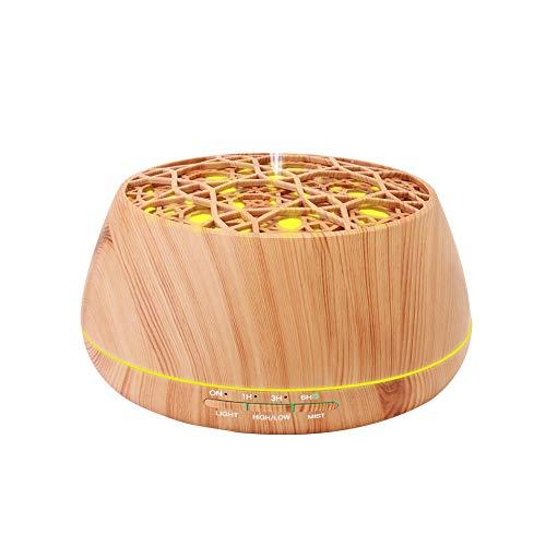 Baseus Aroma Diffuser, 400 ml Ultraschall Luftbefeuchter Oil Düfte Humidifier LED Aromatherapie Diffusor, Holzmaserung mit 7 LED Farbwechsel Einstellbarem Nebel-Modus (Helle Holz-Maserung)