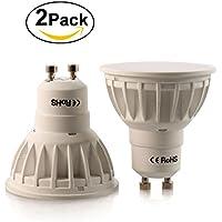 Foonii 5W GU10 Lampadina LED, sostituisce lampadine alogene da 50W, 450lm, bianco caldo, 3000K, fascio di luce a 120°, luci a faretto con lampadine LED, confezione da 2 pezzi [Classe di efficienza energetica A+]