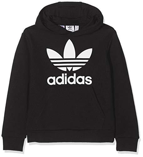 adidas Kinder Trefoil Hoodie Sweatshirt, Black/White, 11-12Y -