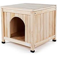 LF Cama de Madera Maciza para Mascotas Casa para Perros en el Interior Cat Cat Four