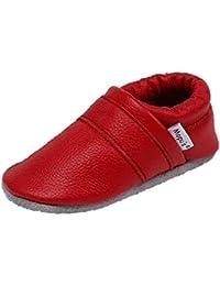 Mopu's® Krabbelschuhe - Lederpuschen in uni rot - handgemachte Markenqualität aus Deutschland