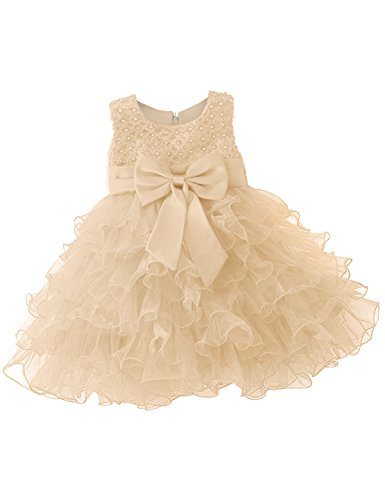 NNJXD Mädchen Party Pailletten Prinzessin 6 Multi Layer Tutu Tüll Kleid Größe(70) 0-6 Monate Gelb -