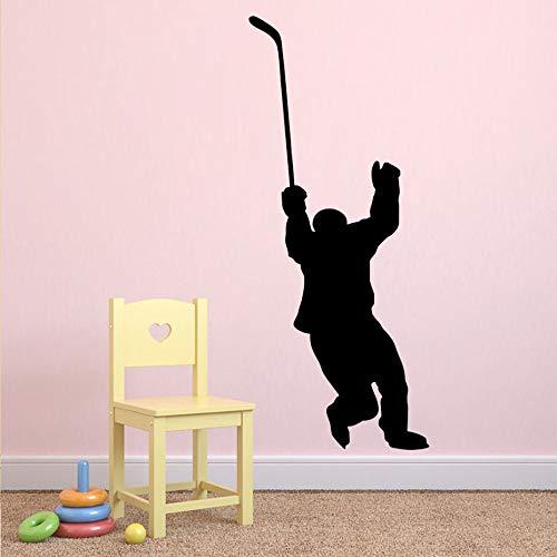 Hockey Player Wandtattoo Hockey Sport Wandaufkleber Für Jugendliche Jungen Zimmer Schlafzimmer Wohnheim College Vinyl Wandkunst Dekor Abnehmbare 58X106CM