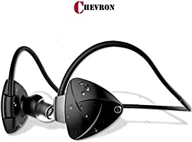 Chevron AlienBass Bluetooth v4.2 Earphones Headphone with Mic, Sweatproof Sports Headset, Best for Running and Gym, Stereo Sound Quality with Ergonomic-Design (Volcano Black)