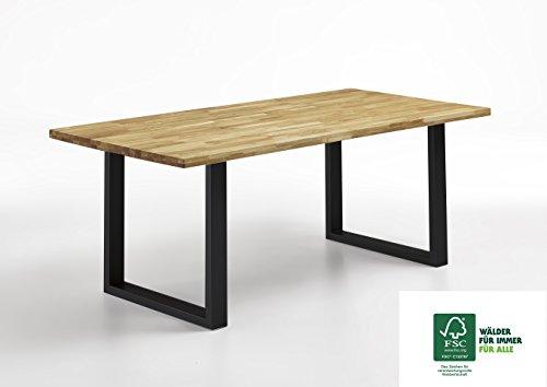 SAM® Stilvoller Esszimmertisch aus Eiche-Holz mit schwarzem Tischgestell, massiver Eichentisch mit pflegeleichter geölter Oberfläche, FSC® 100% zertifiziert, 180 x 90 cm [521487]