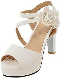 Para Zapatos Amazon De Blanco Charol es Vestir Sandalias xw010Y4qA