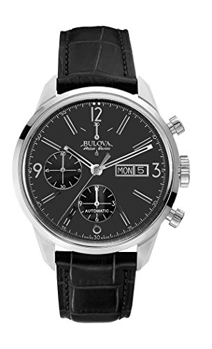 Bulova Herren-Armbanduhr Chronograph Automatik Leder 63C115
