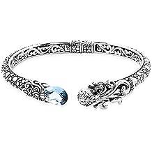 "Royal Bali Handmade 925 Sterling Silver Cuff Bangle for Women London Blue Topaz Black Onyx Size 6.75"", 4.89 Ct"