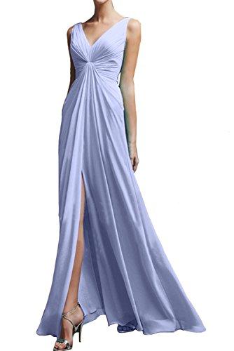 TOSKANA BRAUT Damen Chiffon V-Neck Falte Blau Abendkleider Lang Partykleider Ballkleider Schlitz Lavender