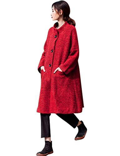 Youlee Femmes Loose Single-breasted A-ligne Laine Manteau Rouge