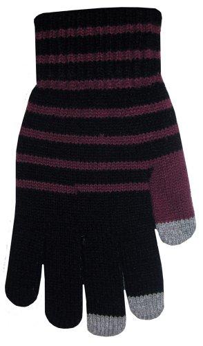 BOSS Tech Produkte Knit Touchscreen Handschuhe mit leitfähigen Fingerspitzen Schwarz und Violett -