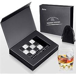 Baban Pierres à Whisky Ensemble de Cadeaux Pierre a Whisky - Set de 12 Pierres Artisanales Rondes en Granit Naturel - Cadeau Homme - Glacon Pierre Whisky Granit - Pinces en Acier