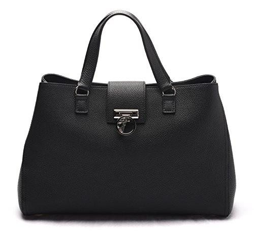 Versace-Collection-Women-Pebbled-Leather-Medusa-Top-Handle-Handbag-Satchel-Black