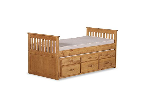 Happy Beds Captains Wooden Waxed Pine Guest Bed Drawers Furniture with 2x Pocket Flexi Mattresses 3' Single 90 x 190 cm