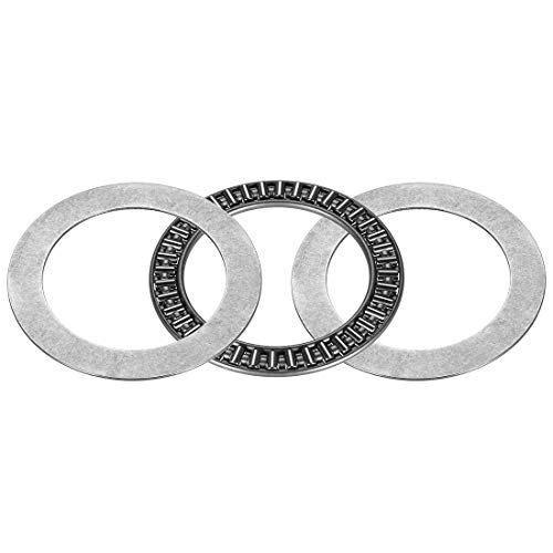 ZCHXD AXK5070+2AS Needle Roller Thrust Bearings with 2 Washers, 50mm Inner Diameter, 70mm OD, 5mm of Thickness, GCr15 Hardness -