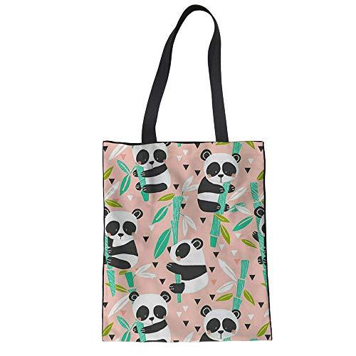Cartoon-muster Leinwand (SHOUTIBAOBAO Handtasche Leinwand,3D Cartoon Bambus Panda Muster Rosa Drucken Shopping Taschen Frauen Wiederverwendbare Tragbare Mode Trend Totebeutel Umhängetaschen Für Handwerk)