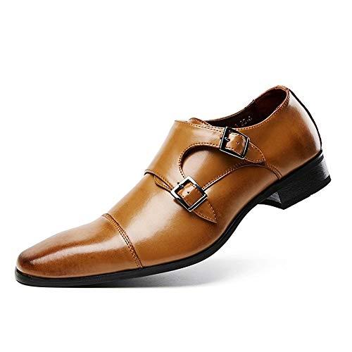 Casual Suede Shoe Mikrofaser Monk Strap Oxfords Herren Carving Halbschuhe Herren Sneaker (Color : Tan, Größe : 43 EU) -