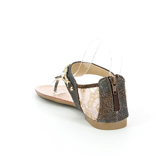 Ir Tendance - Sandalias Planas Tiene Decoraciones De Cadena Y Diamantes - Brown Woman