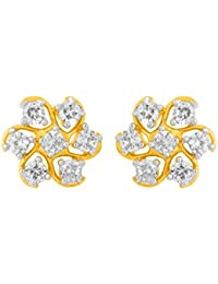 Voylla Yellow Gold Stud Adorned With CZ Stones For Women