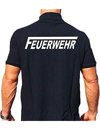 c47d57985ae27c feuer1 Polo-Shirt FEUERWEHR mit langem F - weisser beidseitiger Schriftzug