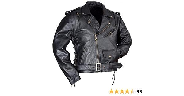 Lederjacke Leder Jacke Für Biker Chopper Mottoradjacke Motorrad Rocker Punk Rockabilly Auto