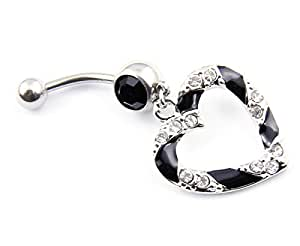 14 Guage Clear Black Paved Heart Hollow Dangle Belly Navel Bar Ring Barbell Button