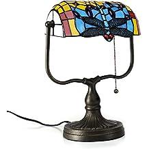Gweat Tiffany de 10 pulgadas estilo retro hecho a mano de color de cristal de la libélula Banquero lámpara de mesa