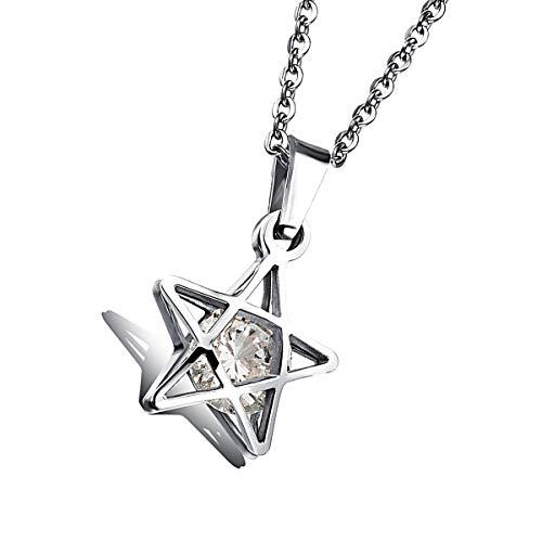 HengYing 1 Stück Edelstahl Jüdische Davidstern Anhänger Halskette für Männer und Frauen religiös - Silber