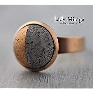Bestseller - Geometrischer Beton Ring -Roségold- Beton-Schmuck Rosévergoldet Verstellbar Rund Geschenkidee für Sie