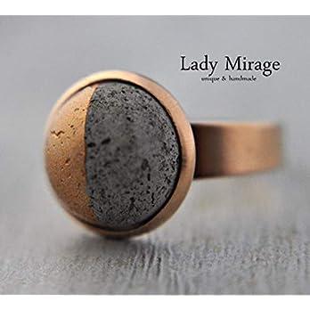Bestseller – Geometrischer Beton Ring -Roségold- Beton-Schmuck Rosévergoldet Verstellbar Rund Geschenkidee für Sie