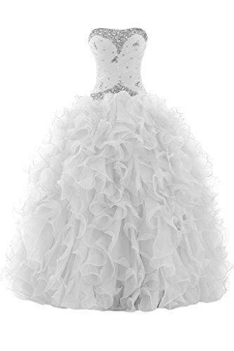 Sunvary Elegant Herzform Abendkleider Lang Organza Ballkleider Festliche Kleider Weiß